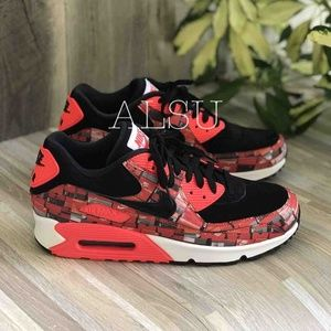 NWT Nike Air Max 90 Print Black Red Mens AUTHENTIC NWT